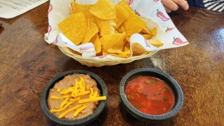 Chips, salsa, and beans