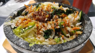 Hot Stone Bibimbap with Bulgogi, mixed