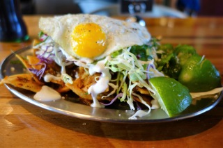 Chilaquiles with organic fried egg