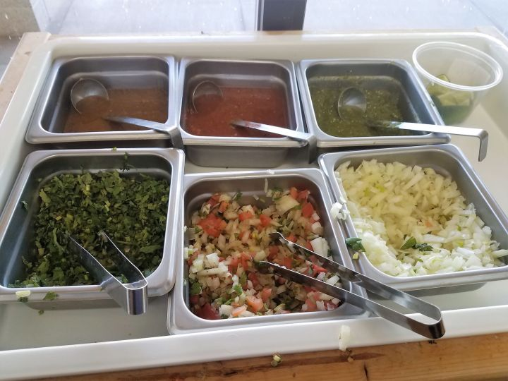 Salsa and toppings bar