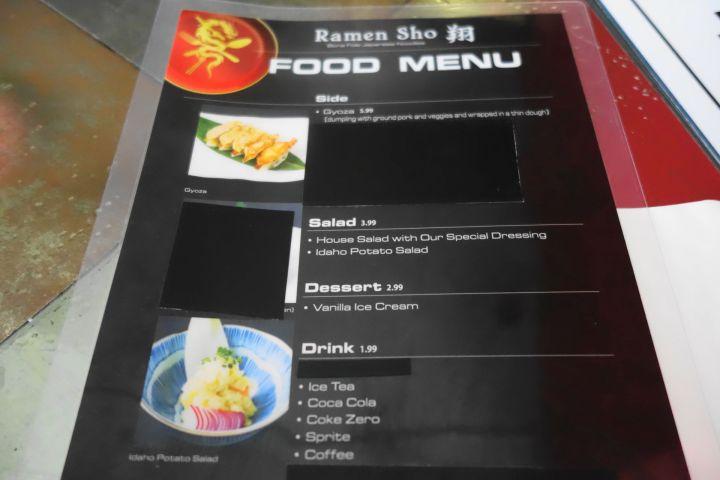Ramen Sho menu 2