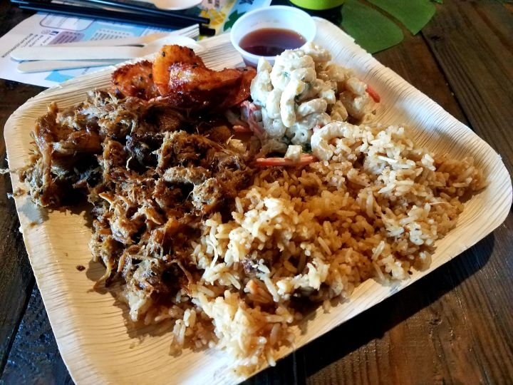 Kahuna Plate with Kalua Pig and Coconut Shrimp from Kanak Attack Pineapple Express