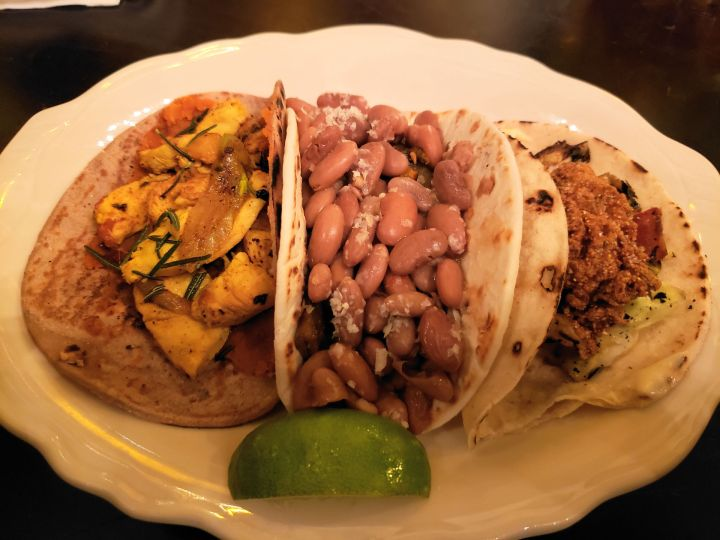 Mixed tacos from Diablo & Sons, including Refugee Restaurant Week special Doro Tibs